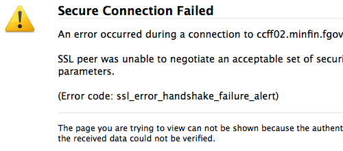 Erreur sur Taxonweb.be: ssl_error_handshake_failure_alert